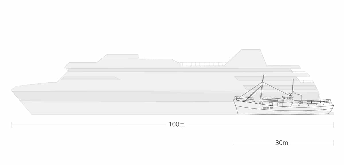 expedition motor yacht compared to a cruise ship